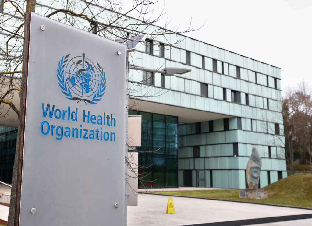 FILE PHOTO: A logo is pictured outside a building of the World Heal…