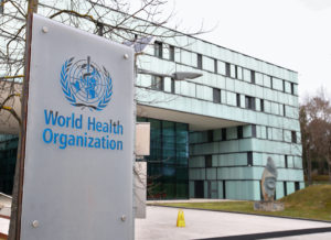 FILE PHOTO: A logo is pictured outside a building of the World Health Organization (WHO) during an executive board meeting on update on the coronavirus outbreak, in Geneva, Switzerland, February 6, 2020. Photo by Denis Balibouse/File Photo/Reuters