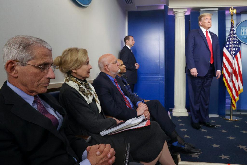 White House coronavirus task force members, including Dr. Anthony F…