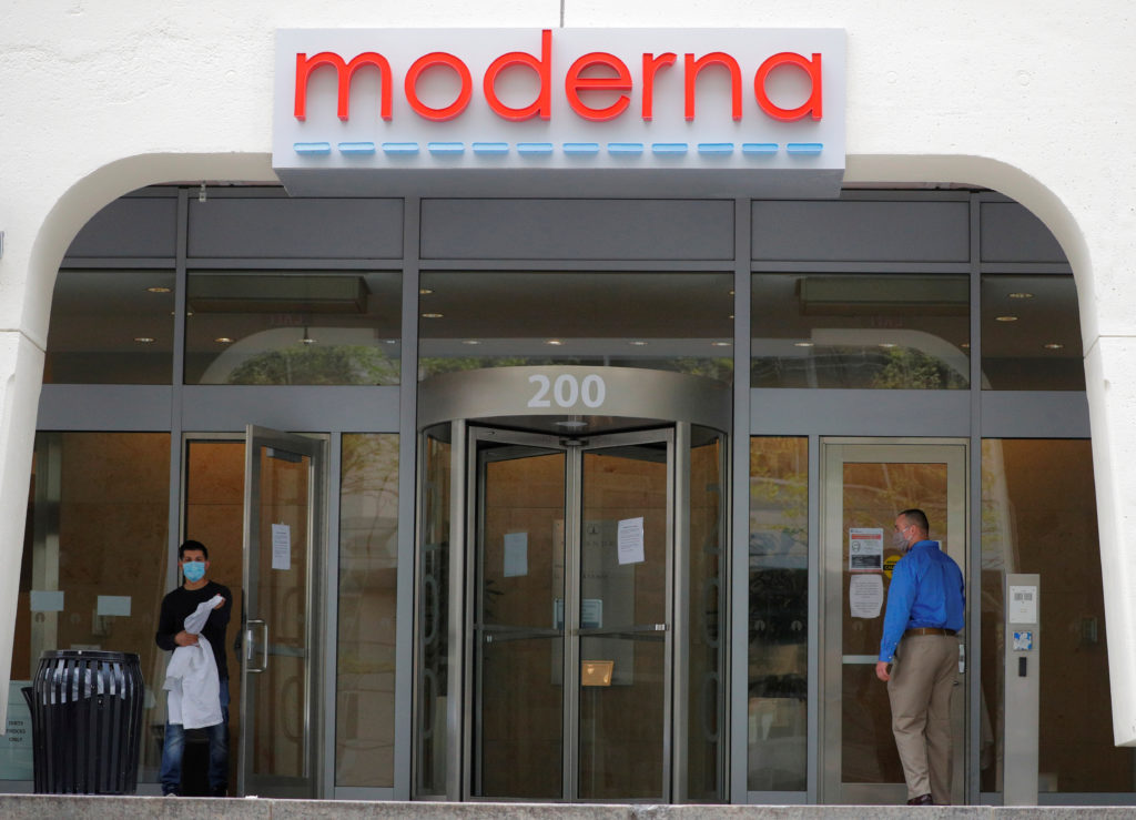 A sign marks the headquarters of Moderna Therapeutics, which is developing a vaccine against the coronavirus disease (COVI...