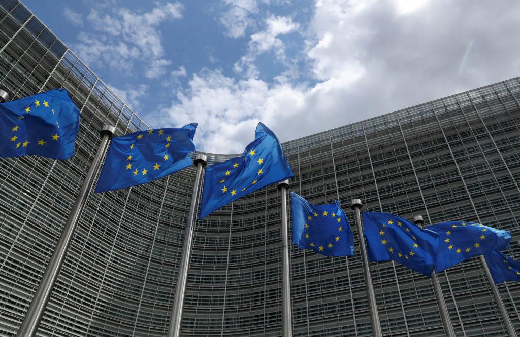 European Union flags flutter outside the European Commission headqu…