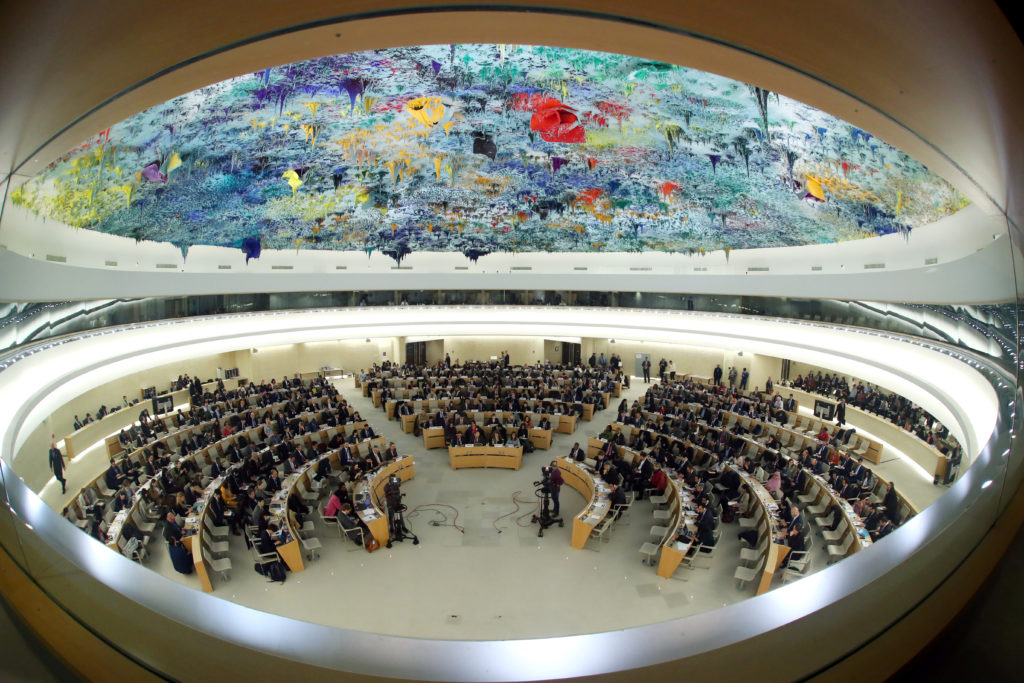 FILE PHOTO: Overview of the session of the Human Rights Council during the speech of U.N. High Commissioner for Human Righ...