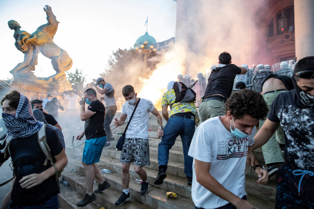 Serbia bans mass gatherings after virus lockdown protests
