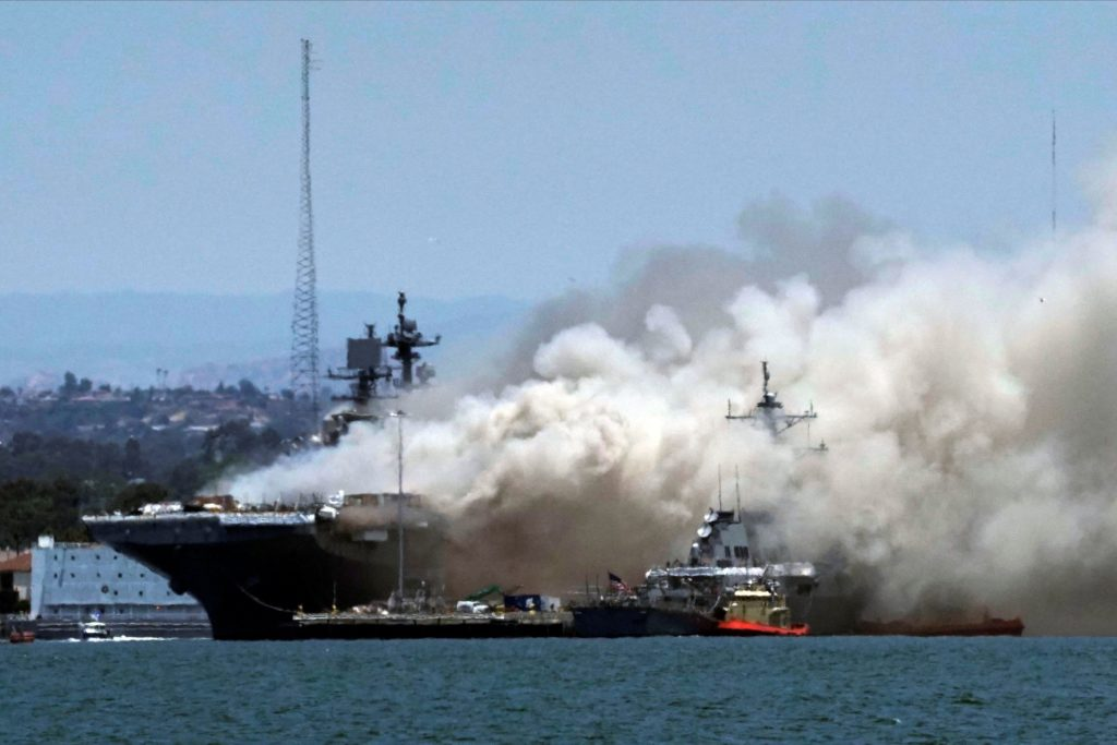 18 injured in fire aboard ship at Naval Base San Diego