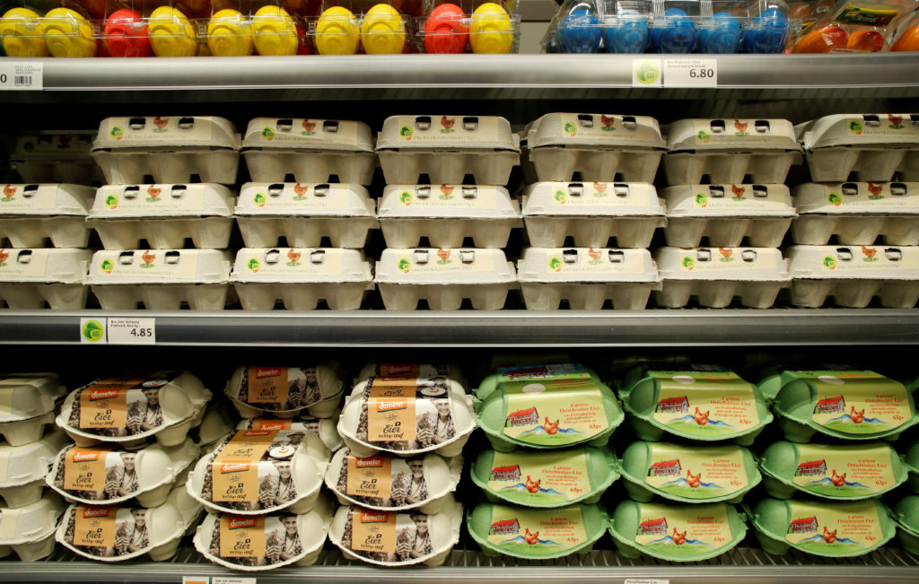 Boxes containing fresh eggs are displayed at a supermarket of Swiss retail group Migros, as the spread of the coronavirus disease (COVID-19) continues, in Zurich, Switzerland June 24, 2020.