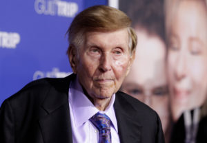 "FILE PHOTO: Sumner Redstone, executive chairman of CBS Corp. and Viacom, arrives at the premiere of ""The Guilt Trip"" starring Barbra Streisand and Seth Rogen in Los Angeles December 11, 2012. Photo by REUTERS/Fred Prouser/File Photo"
