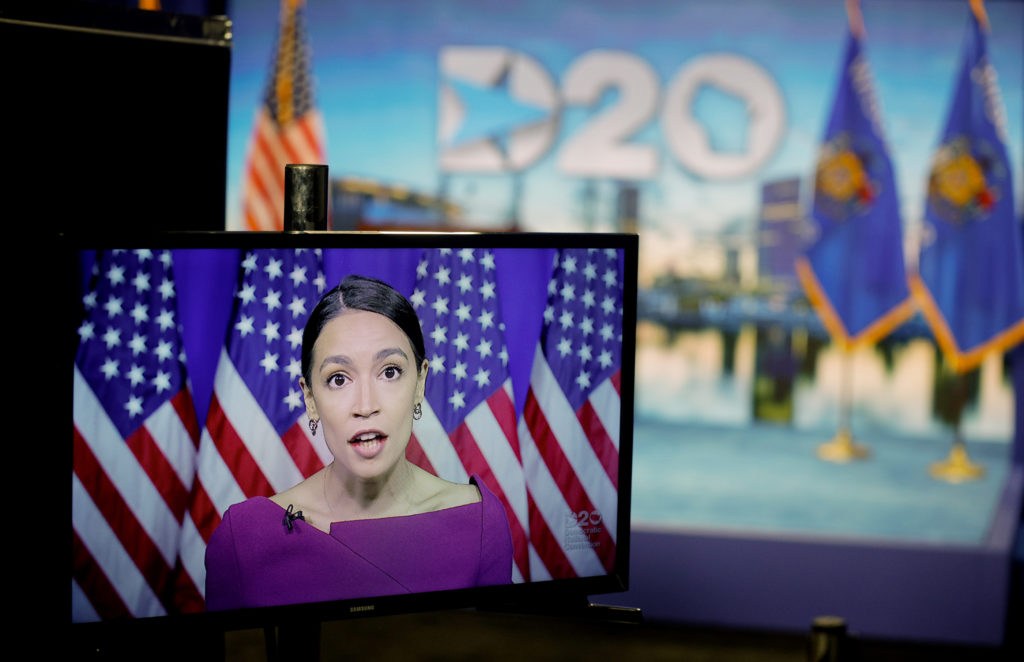 U.S. Rep. Alexandria Ocasio-Cortez (D-NY) addresses the second night of the virtual 2020 Democratic National Convention as she seconds the nomination of U.S. Senator Bernie Sanders via video feed as seen at its hosting site in Milwaukee, Wisconsin, U.S. August 18, 2020. REUTERS/Brian Snyder/Pool     TPX IMAGES OF THE DAY