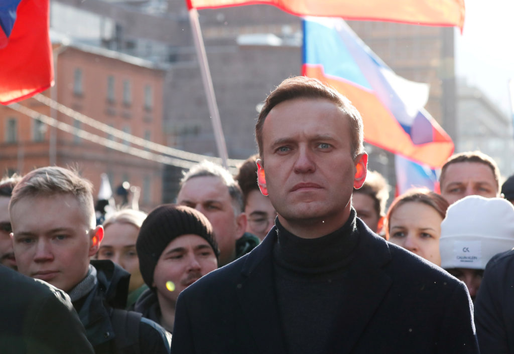 Russian opposition politician Alexei Navalny takes part in a rally to mark the 5th anniversary of opposition politician Bo...