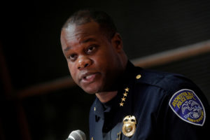 FILE PHOTO: Rochester Police Chief, La'Ron Singletary speaks during a news conference regarding the protests over the death of a Black man, Daniel Prude, after police put a spit hood over his head during an arrest on March 23, in Rochester, New York, U.S. September 6, 2020. Photo by REUTERS/Brendan McDermid/File Photo