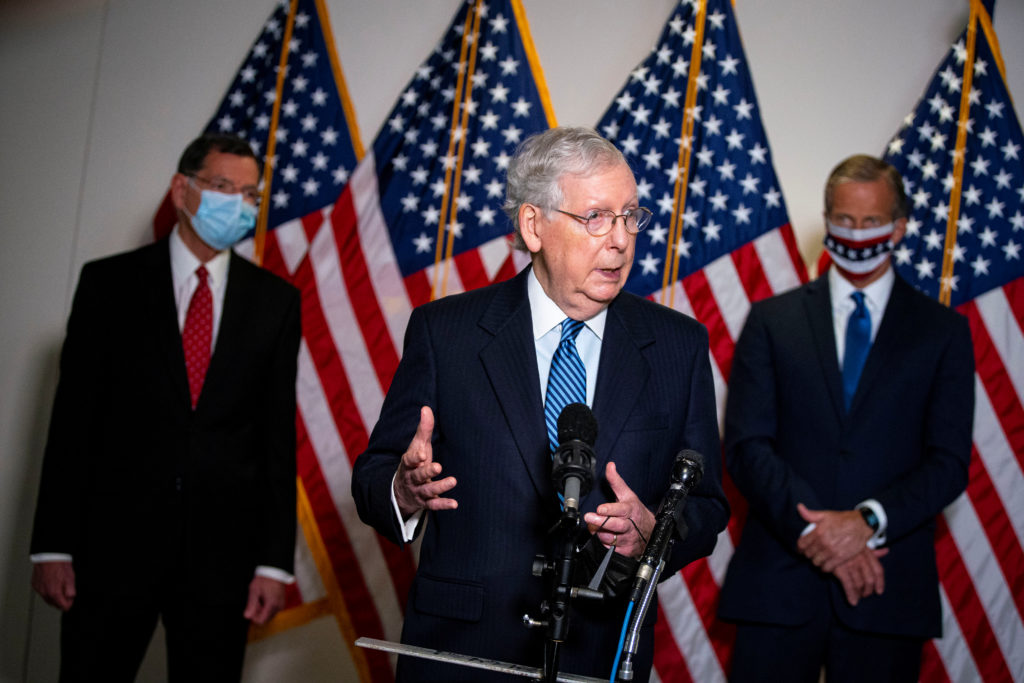 Senate Majority Leader Mitch McConnell (R-KY) speaks to reporters after the Senate Republican luncheon on Capitol Hill, in Washington, U.S., September 15, 2020. REUTERS/Al Drago