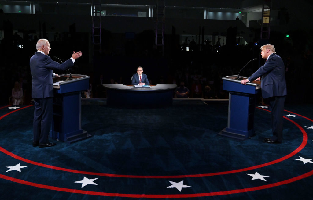 CLEVELAND, OHIO - SEPTEMBER 29: U.S. President Donald Trump (R) and Democratic presidential nominee Joe Biden participate in the first presidential debate at the Health Education Campus of Case Western Reserve University on September 29, 2020 in Cleveland, Ohio. This is the first of three planned debates between the two candidates in the lead up to the election on November 3. (Photo by Olivier Douliery-Pool/Getty Images)
