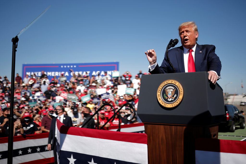U.S. President Donald Trump speaks during a campaign rally at Prescott Regional Airport in , Arizona, U.S., October 19, 2020. Photo by REUTERS/Carlos Barria
