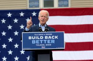 U.S. Democratic presidential candidate Joe Biden speaks during a campaign event in Toledo, Ohio, U.S., October 12, 2020. Photo by REUTERS/Rebecca Cook