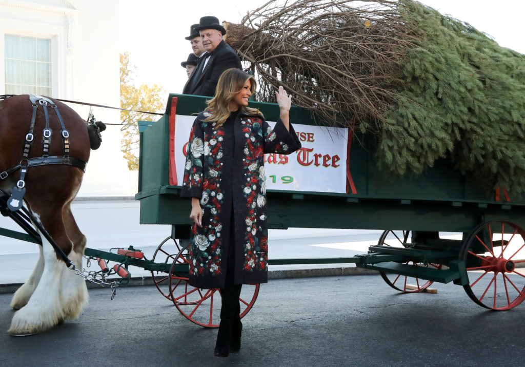 WATCH: First Lady Melania Trump receives White House Christmas tree