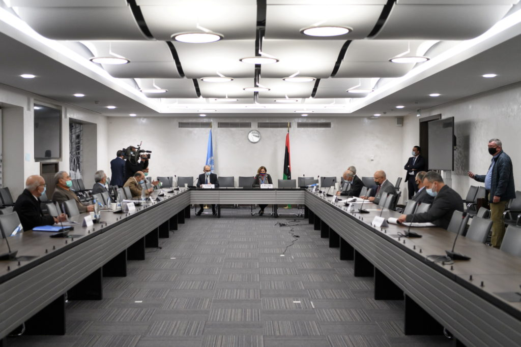A general view of the talks between the rival factions in the Libya conflict at the United Nations offices in Geneva, Switzerland October 20, 2020. Photo by Fabrice Coffrini/Pool via REUTERS