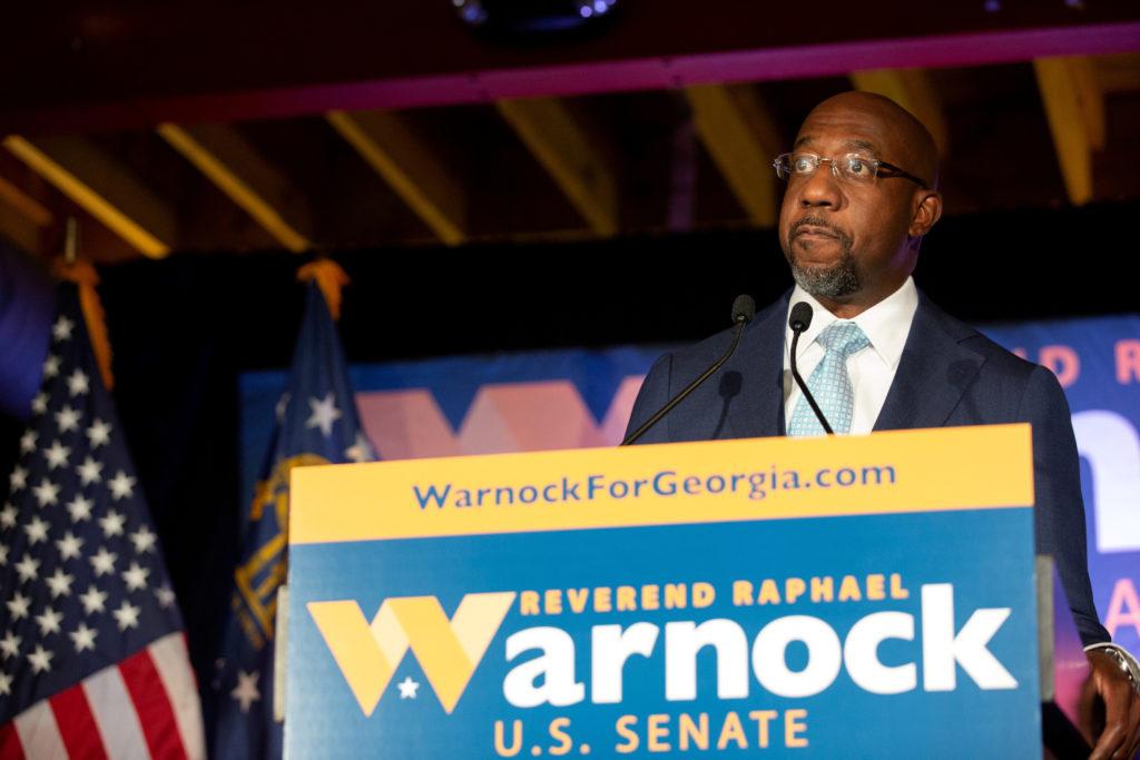 Democratic U.S. Senate candidate Rev. Raphael Warnock speaks during…