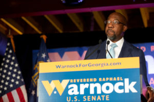 Democratic U.S. Senate candidate Rev. Raphael Warnock speaks during an Election Night event in Atlanta, Georgia, November 3, 2020. Photo by Jessica McGowan/Pool via REUTERS/File Photo