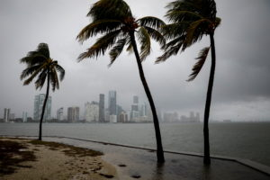 The city skyline during rain caused by Tropical Storm Eta, in Miami, Florida, U.S., November 9, 2020. Photo by REUTERS/Marco Bello