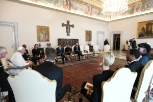 Pope Francis meets a delegation of five NBA players, including Jonathan Isaac and Sterling Brown and officials from the National Basketball Players Association at the Vatican November 23, 2020. Vatican Media/Handout via REUTERS