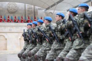 Presidents Tayyip Erdogan of Turkey and Ilham Aliyev of Azerbaijan attend a military parade to mark the victory on Nagorno-Karabakh conflict, in Baku, Azerbaijan December 10, 2020. Turkish Presidential Press Office/Handout via REUTERS
