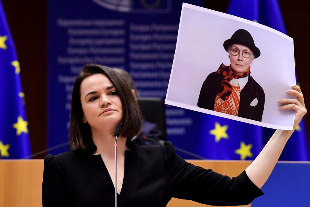 Belarus' opposition leader Sviatlana Tsikhanouskaya delivers a speech as she receives the Sakharov Prize, European Union's annual human rights award, at the EU Parliament in Brussels, Belgium December 16, 2020. Photo by John Thys/Pool via REUTERS