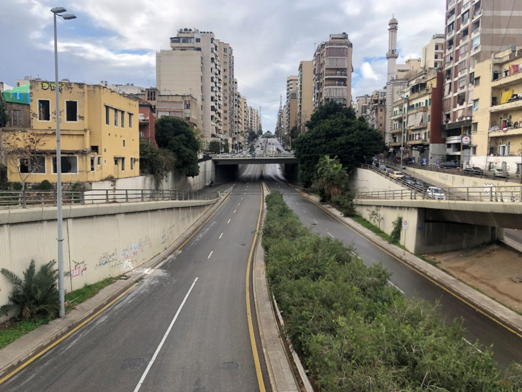 A view of empty road as Lebanon tightened lockdown and introduced a 24-hour curfew to curb the spread of the coronavirus disease (COVID-19) in Beirut, Lebanon, January 14, 2021. Photo by Issam Abdallah/Reuters