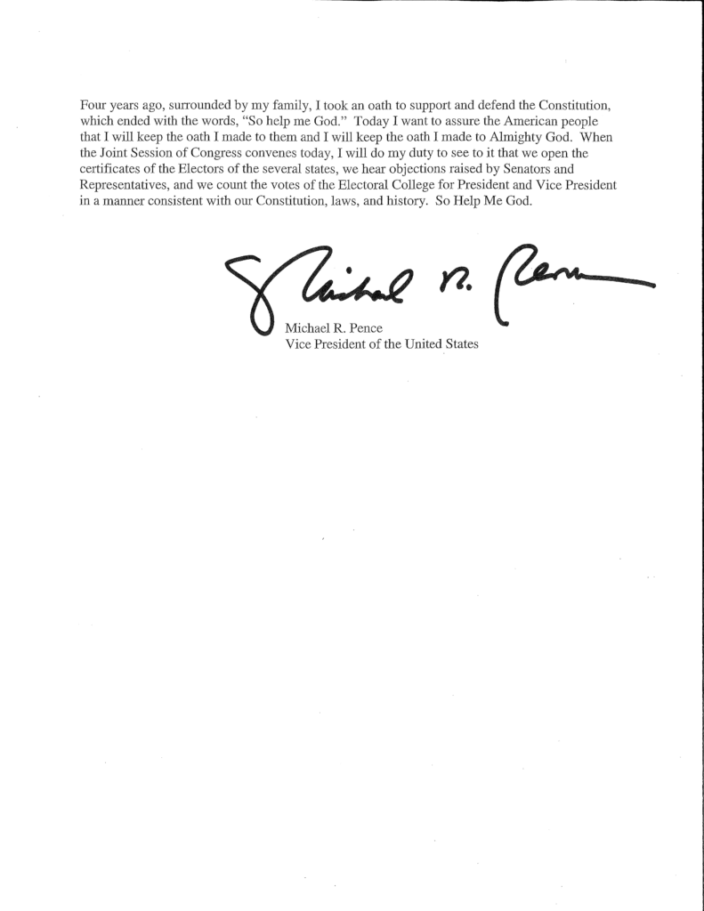 Read Pence's full letter saying he can't claim 'unilateral ...