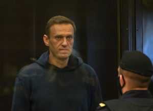 Russian opposition leader Alexei Navalny accused of flouting the terms of a suspended sentence for embezzlement attends a court hearing in Moscow, Russia February 2, 2021. Press service of Moscow City Court/Handout via Reuters
