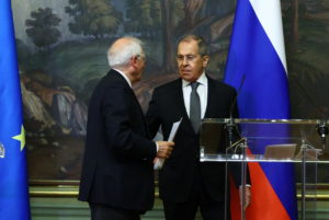 Russia's Foreign Minister Sergei Lavrov and European Union's foreign policy chief Josep Borrell attend a news conference following their talks in Moscow, Russia February 5, 2021. Photo by Russian Foreign Ministry/Handout via Reuters