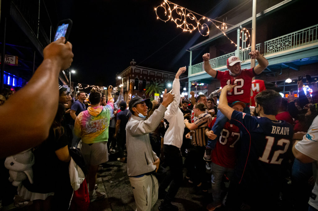 Feb 7, 2021; Tampa, Florida, USA; Fans celebrate in the streets of Ybor City in Tampa, FL after the Tampa Bay Buccaneers b...