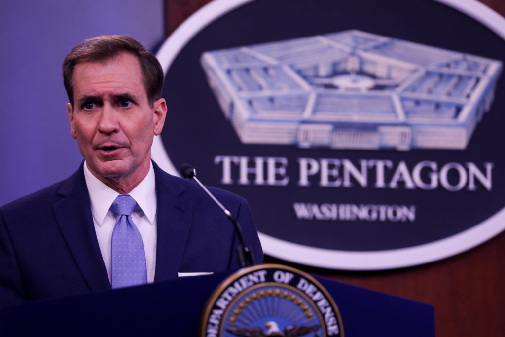Pentagon Press Secretary John Kirby speaks at press conference at the Pentagon January 28, 2021 in Arlington,Virginia. Photo by Yasin Ozturk/Anadolu Agency via Getty Images