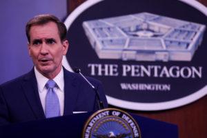 Pentagon Press Secretary John Kirby speaks at press conference at t…