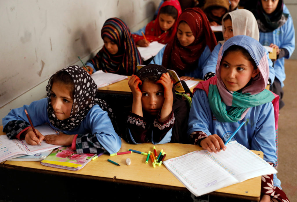 Afghan girls attend a class at the Aschiana center in Kabul, Afghanistan March 5, 2019. Picture taken March 5, 2019. Photo...