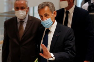 Former French President Nicolas Sarkozy, wearing a protective face mask, arrives for the verdict in his trial on charges of corruption and influence peddling, at Paris courthouse, France, March 1, 2021. Photo by Reuters/Gonzalo Fuentes