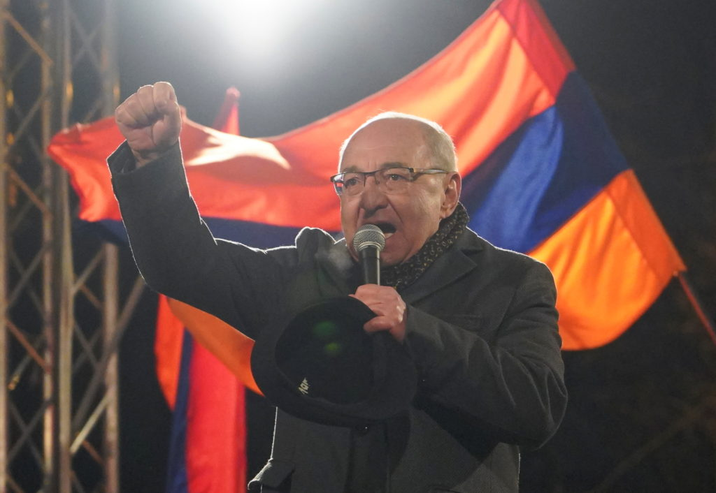 Armenian opposition leader Vazgen Manukyan delivers a speech during a rally to demand the resignation of Armenian Prime Mi...