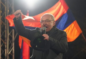 Armenian opposition leader Vazgen Manukyan delivers a speech during a rally to demand the resignation of Armenian Prime Minister Nikol Pashinyan in Yerevan, Armenia March 1, 2021. Photo by Reuters/Artem Mikryukov