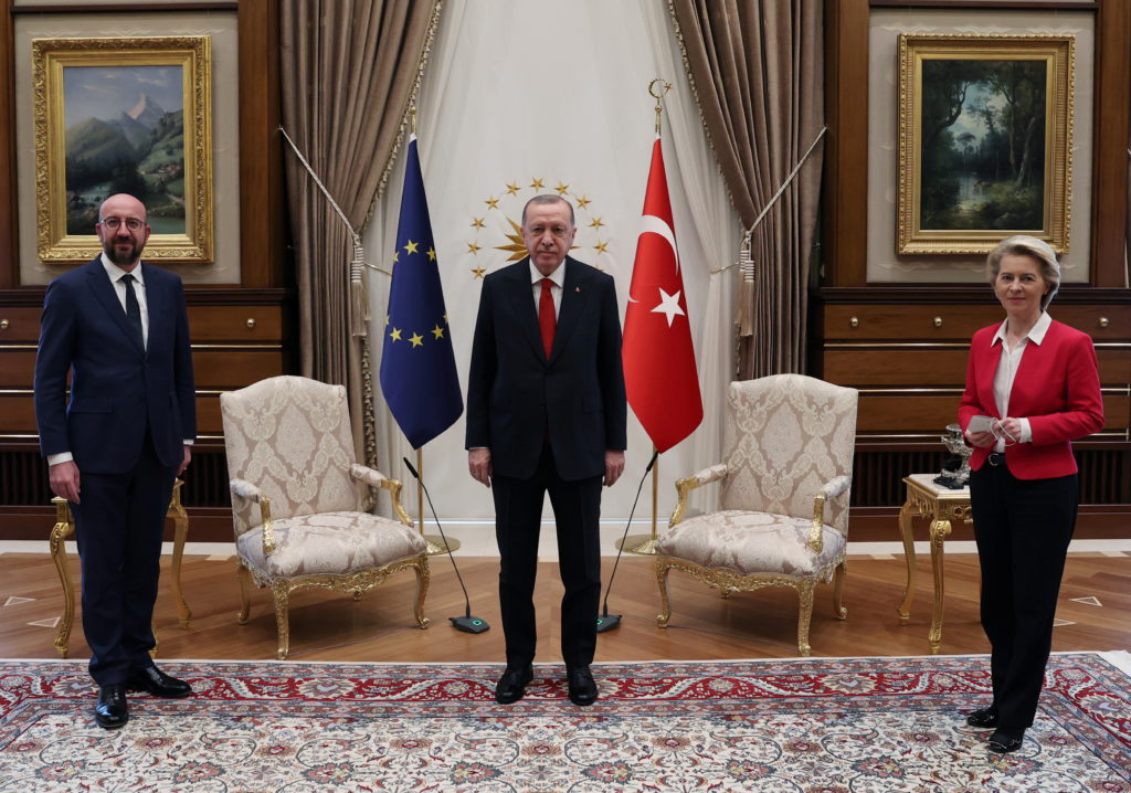 Turkish President Tayyip Erdogan meets with European Council President Charles Michel and European Commission President Ur...