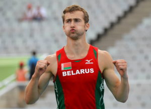 FILE PHOTO: Andrei Krauchanka of Belarus reacts during the pole vault event of the men's decathlon at the at the European Athletics Championships in Barcelona July 29, 2010. Photo by REUTERS/Dominic Ebenbichler/File Photo
