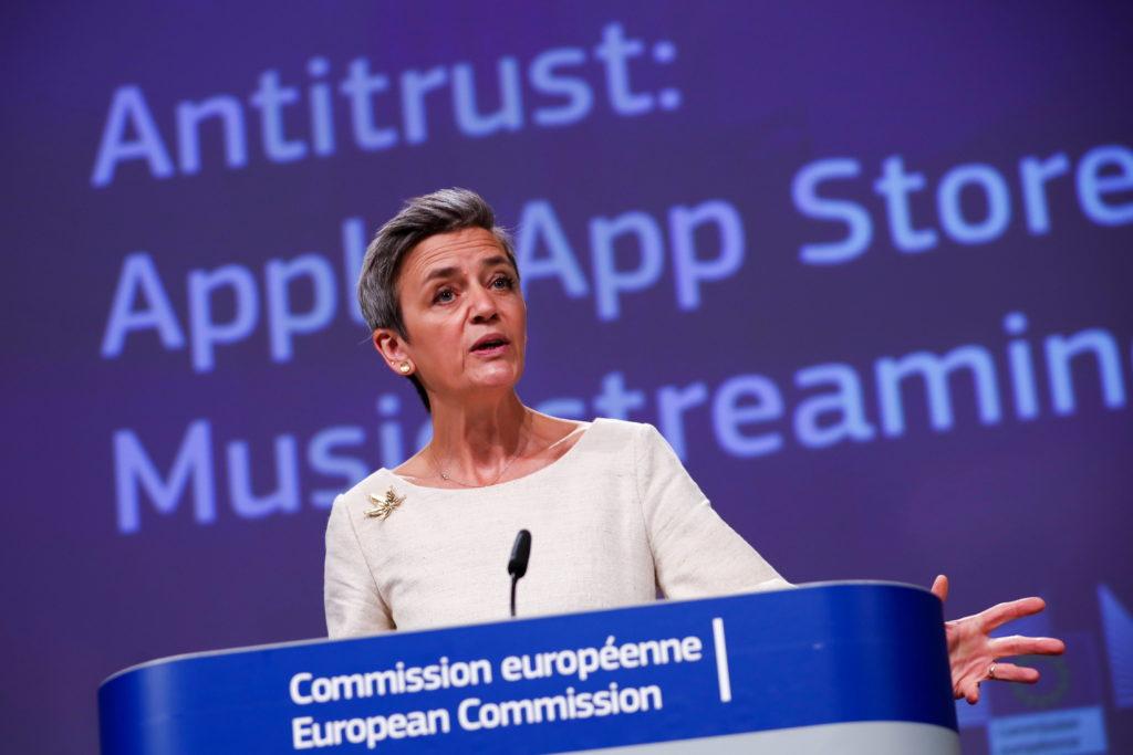 European Commissioner for Europe fit for the Digital Age Margrethe Vestager speaks during an online news conference on App...