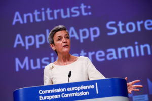 European Commissioner for Europe fit for the Digital Age Margrethe Vestager speaks during an online news conference on Apple anti trust case at the EU headquarters in Brussels, Belgium April 30, 2021. Photo by Francisco Seco/Pool via REUTERS