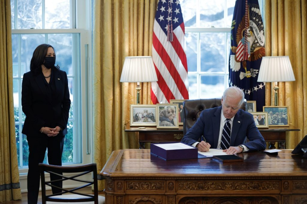 U.S. President Joe Biden signs the American Rescue Plan, a package of economic relief measures to respond to the impact of...