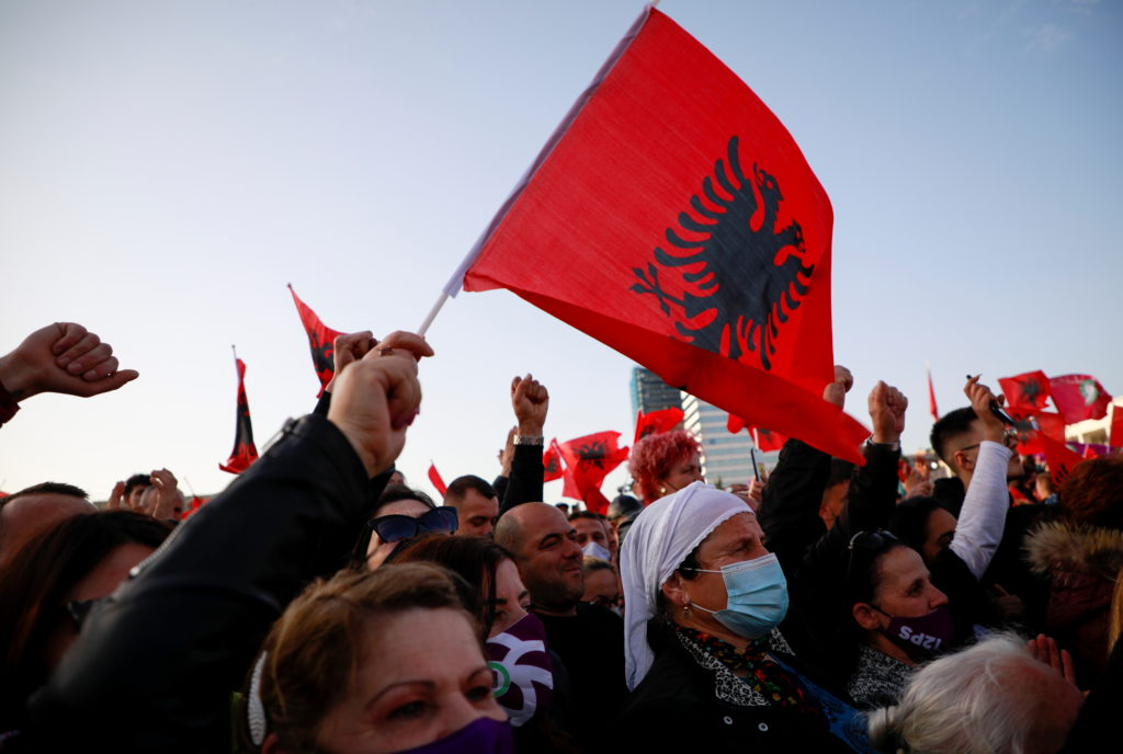 People attend a rally celebrating the Socialist Party's election victory, at Skanderbeg Square in Tirana, Albania April 27, 2021. Photo by REUTERS/Florion Goga