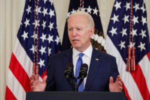 President Joe Biden delivers remarks at the White House