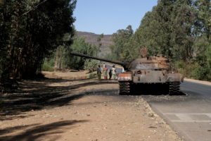 FILE PHOTO: A burned tank stands near the town of Adwa, Tigray region, Ethiopia.