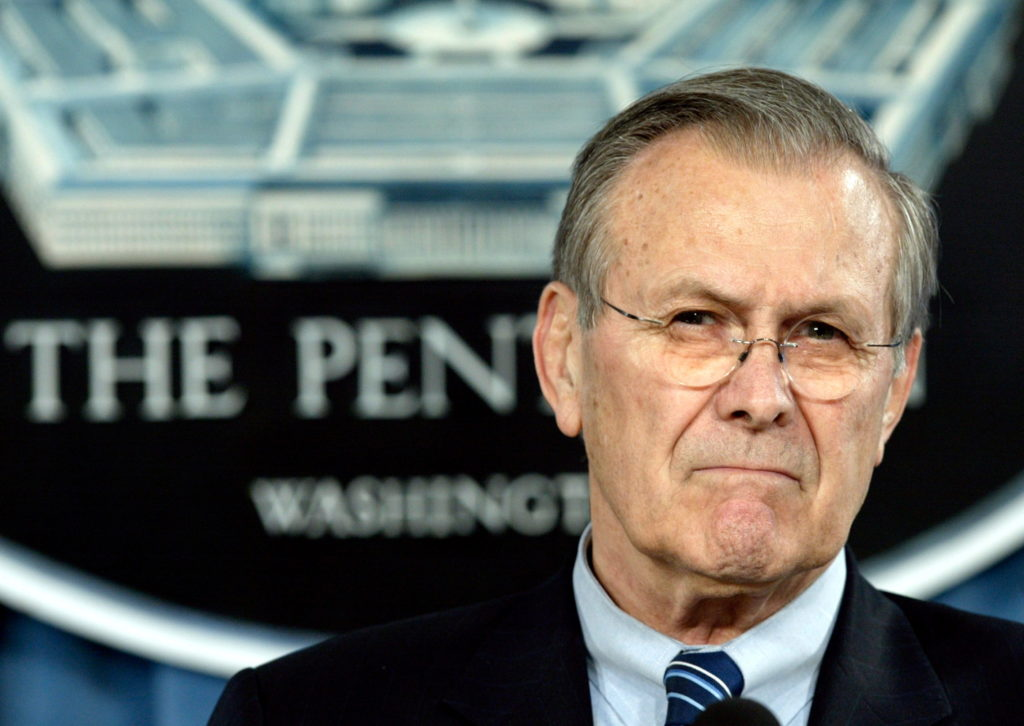 FILE PHOTO: Secretary of Defense Donald Rumsfeld speaks at the Pentagon.