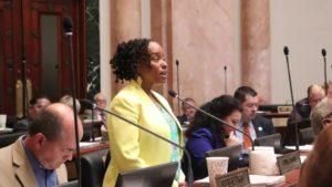A Black, female politician rises to speak