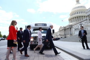 Members of Congress return to the capitol after reaching infrastructure agreement with President Biden