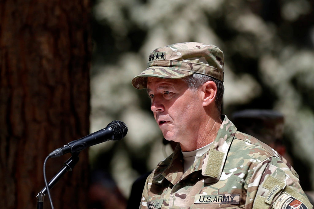 Incoming Commander of Resolute Support forces and command of NATO forces in Afghanistan, U.S. Army General Scott Miller sp...