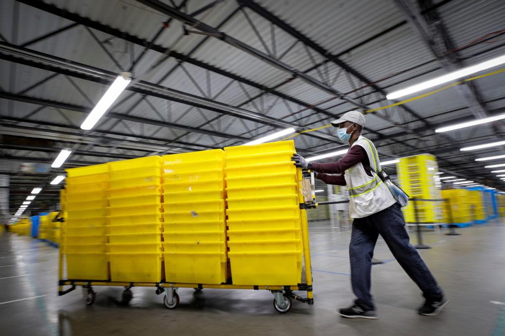 Amazon's JFK8 distribution center in Staten Island, New York City