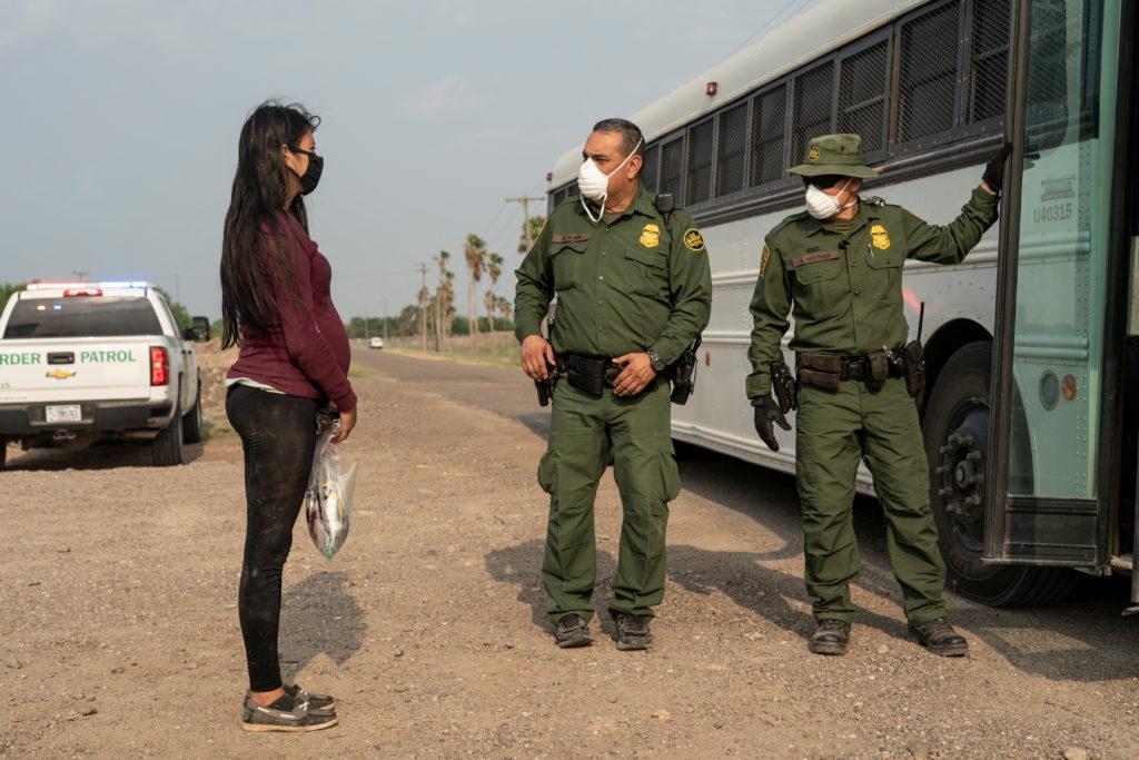 Central American migrants apprehended by the border patrol in La Joya, TX